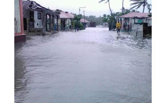 Überschwemmte Straße in Haiti